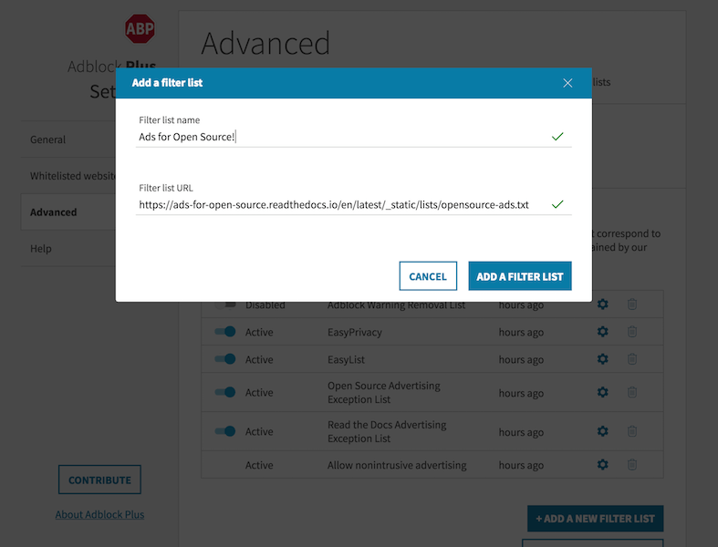 Installing Adblock Filter Lists — Ads for Open Source
